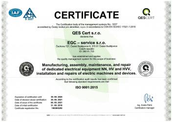 EN ISO 9001:2015 / EGC - service s.r.o.