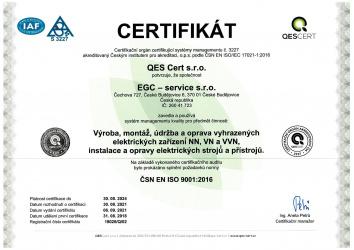 ČSN EN ISO 9001:2016 / EGC - service s.r.o.
