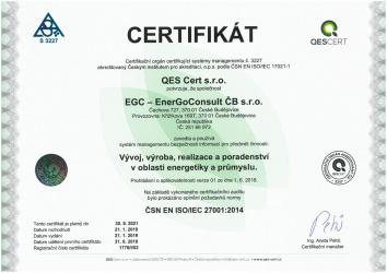 ČSN EN ISO/IEC 27001:2014 / EGC - EnerGoConsult ČB s.r.o.