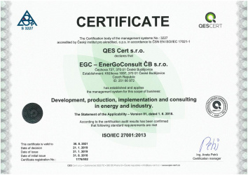 Certificate - ISO/IEC 27001:2013 - Quality management system