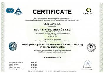 EN ISO 9001:2015 / EGC - EnerGoConsult ČB s.r.o.