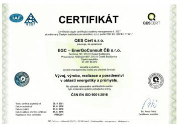 ČSN EN ISO 9001:2016 / EGC - EnerGoConsult ČB s.r.o.