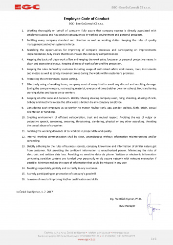 Employee Code of Conduct - EGC