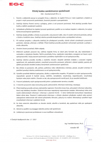 Etický kodex zaměstnance EGC