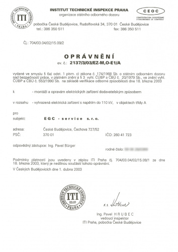 Licence allowing installation and repair of power equipment